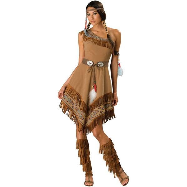 2014 nuovo cosplay di trasporto libero ZY458 costumi vestito operato dalle signore Wild West Pocahontas costume s-2XL