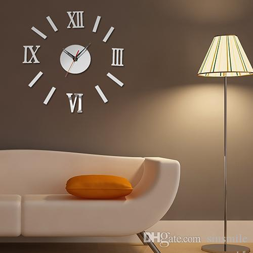 Wholesale-3D Luxury DIY Clock Decoration Mirror Stickers Wall Art Fashion Home Decoration