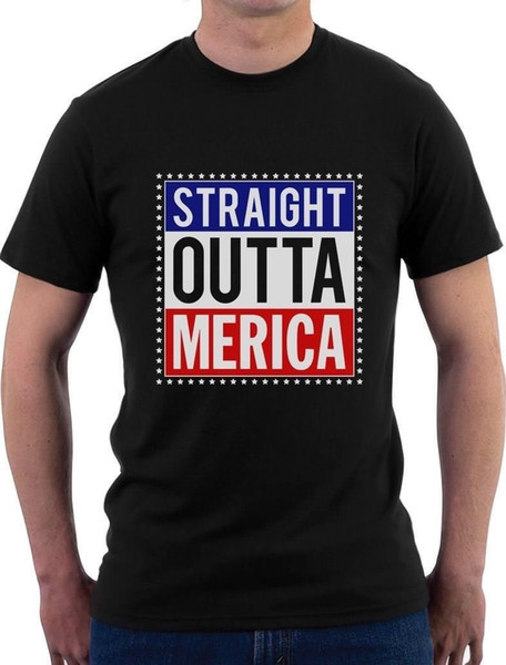 Straight Outta Merica 4th of July Patriot T-Shirt American T Shirt Hot Topic Men Short Sleeve Print Tee Shirt for Male