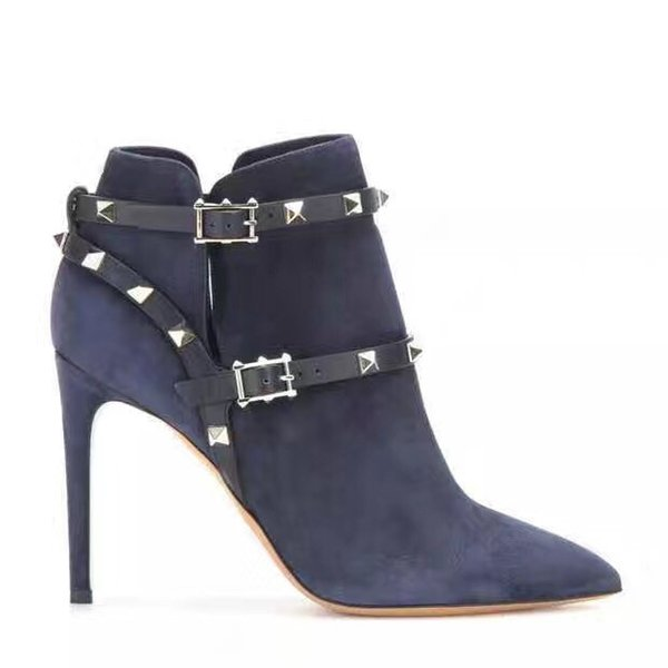 vintage pointed toe ankle boots spike stud gladiator booties women motorcycle boots buckle shoes thin heel bota suede leather dress shoes