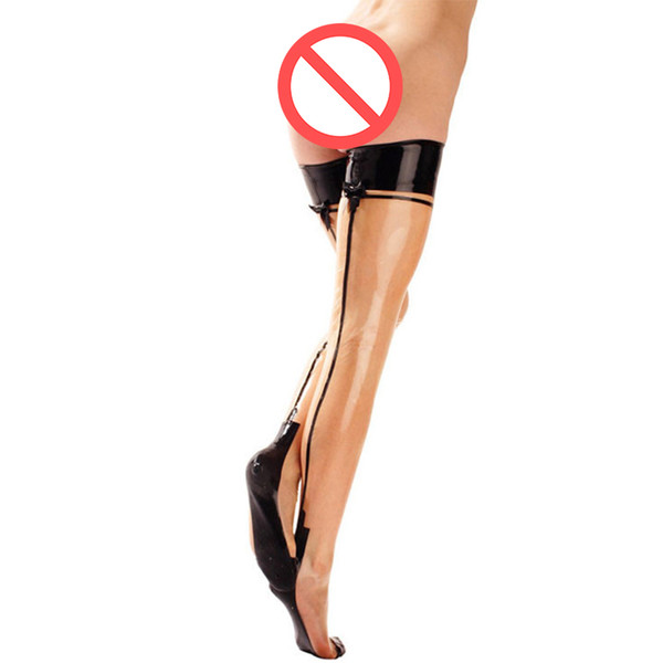 2018 handmade women long Transparent Latex tight Stockings Spliced bow-nots Socks Fetish With Bows Zentai For Halloween