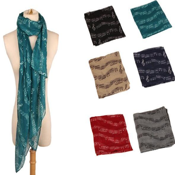 8 Colors 180*90cm Lady Musical Note Neck Soft Scarf Shawl Muffler Sunscreen Musical Note Printed Scarves Fashion Accessories CCA10207 60pcs