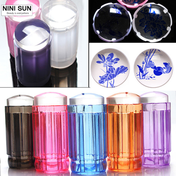 manicure kit 2016 New 2.8CM Transparent Stamp Nail Art Clear Jelly Stamper Scraper Set Manicure Polish Stamp Image Tool Kit