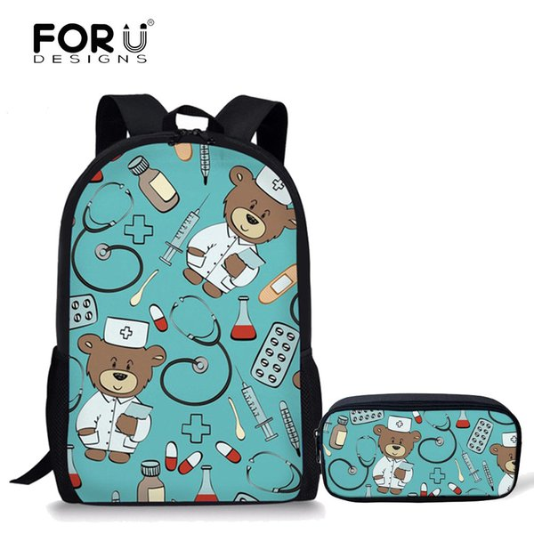FORUDESIGNS School Bags Set for Teenager Girls Bookbag and Pencil Bag Primary Bagback Movie Custom Made Cute Bear Doctors Print Y18100804