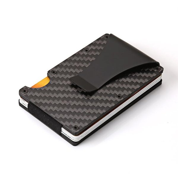 Carbon Fiber Wallet Metal Mini Slim Wallet Men's Credit Card ID Holder With RFID Anti-chief Card Wallet