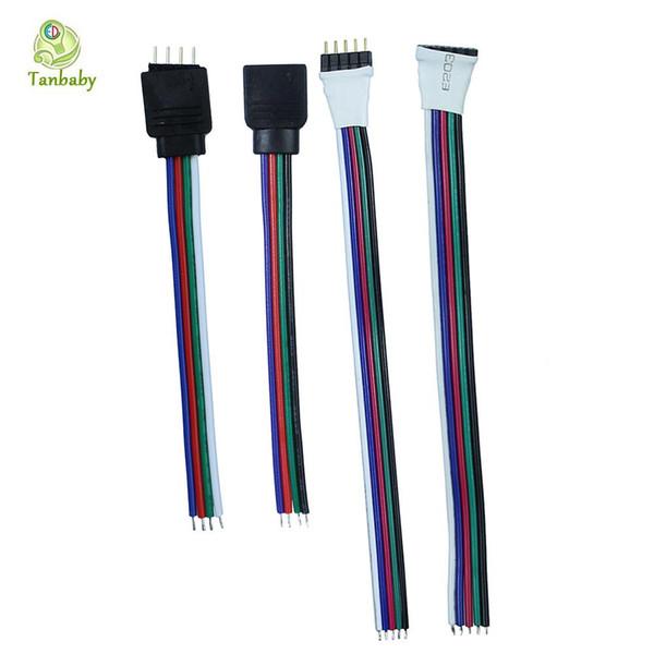 Tanbaby 1pcs 4pin 5pin câble de câble de connecteur femelle pour RGB / RGBW a mené le fil d'extension de lumière de bande de bande au contrôleur