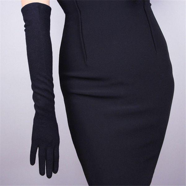 Guantes de Cachemira Mujer Lana Negro 50 cm Largo Estilo Codo Exquisito Elástico Retro Vestido de Mujer Mitones TB26-4
