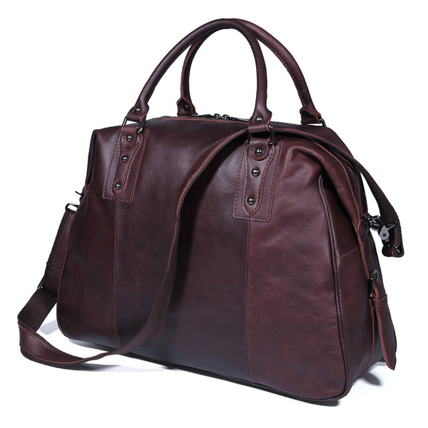 J.M.D Genuine Cow Leather Travel Bag Unique Tote Luggage Bags 7071C-1