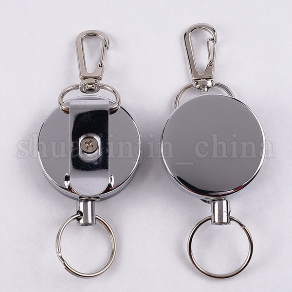 High Resilience Steel Wire Key Chain Ring Wire Rope Chain Recoil Metal Retractable Alarm Anti Lost Belt Clip NNA278