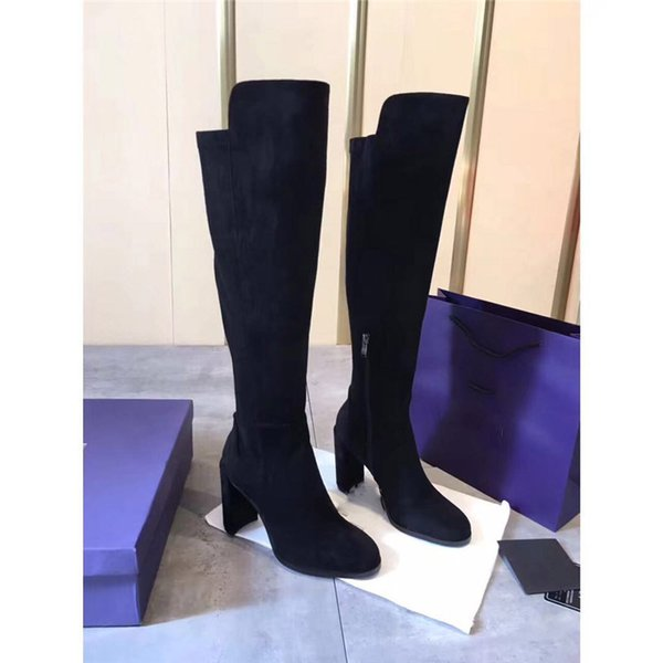 women 7CM High heel Matte leather Long Boots Brand Fashion Designer Hot 2018 Women's Knitting Slim Boot with Original box
