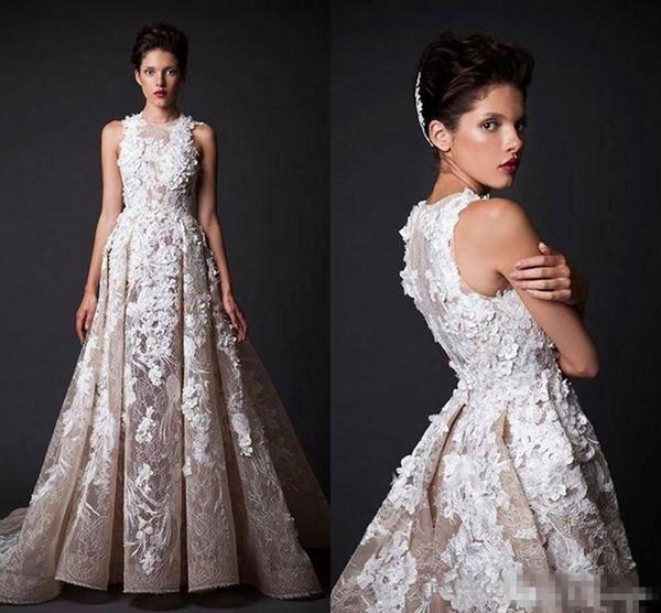2018 New Krikor Jabotian Lace Prom Dresses Jewel Sleeveless Appliques Lace Saudi Arabic Abendkleider robes de soirée Occasion evening dresse