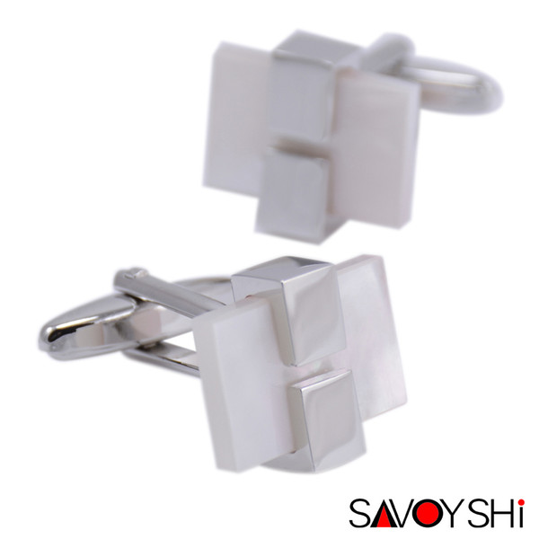 SAVOYSHI Luxury White Shell Cufflinks for Mens Shirt Cuff Brand High Quality Square Cufflinks Wedding Gift Wholesale Jewelry