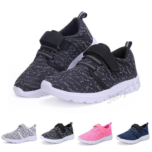 Crianças Sapatos 5 Cores 3-13 anos de idade crianças sapatilhas meninos meninas sapatos com caixa de varejo crianças casuais respirável sapatos frete grátis LA911