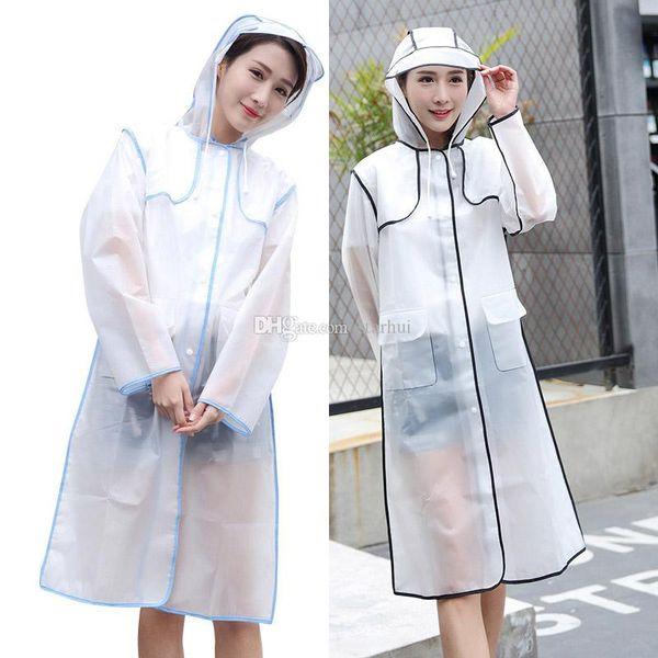 Raincoats EVA Waterproof Frosted Transparent Raincoat Fashionable Women Rainwear Rain Coat Jacket Fringe Clothes Rain Gear WX9-380