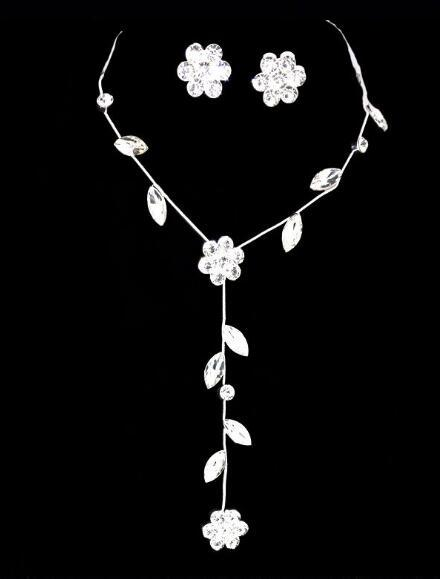 hot new Bridal wedding decoration plum flower gem two-piece necklace, earring set, long necklace, fashion classic, exquisite and elegant