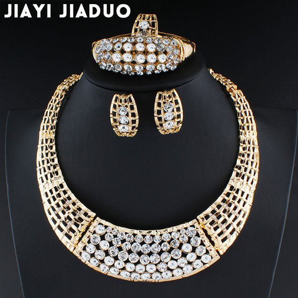 Fashion Exquisite Dubai Jewelry Set Luxury Gold Color Big Nigerian Wedding African Beads Costume Design jewelry set dropshipping
