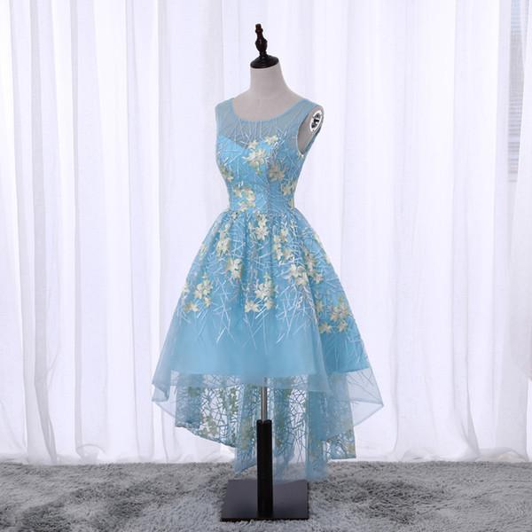 Hot Sale Cheap 2018 New Elegant Sky Blue Scoop High Low Lace Evening Dress Vestido De Festa Longo Sweet Formal Party Dress Prom Gowns