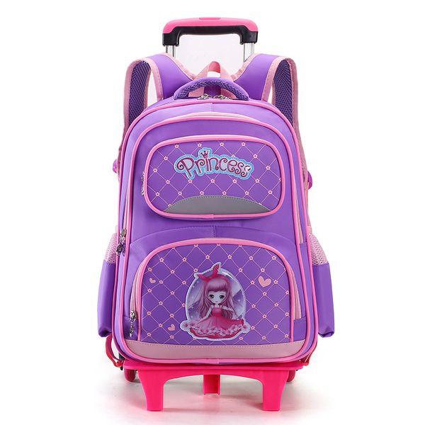Children Trolley School Bag princess school Backpack Wheeled Bag For Grils Kids Wheel Schoolbag Student Backpacks Bags