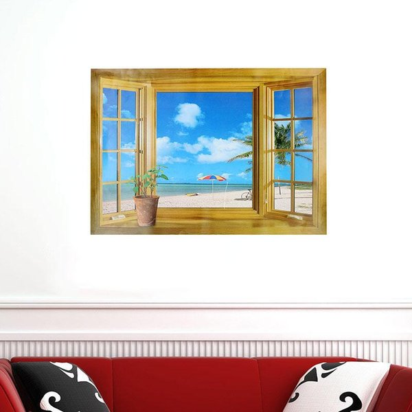 1 Pcs Wallsticker 3D Effect Windows Seascape Landscape Wall Stickers Fashion Home Decors Wall Papers Kid Room Decoration
