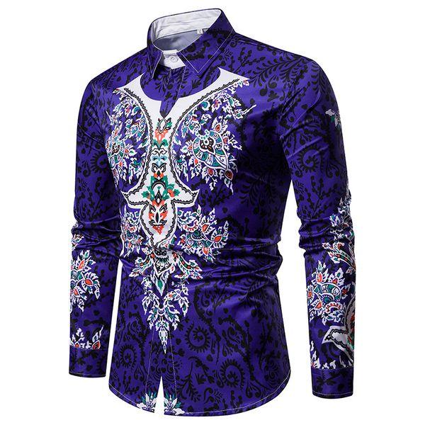 Good quality spring autumn long sleeve casual shirts men printed dress shirt slim fit medusa silk shirts Free Shipping