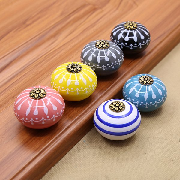 6 Styles Home Decor Hand Painted Ceramic Door Pull Drawer Handles Furniture Antique Shell Knob Tiradores De Cajón Bathroom Accessories