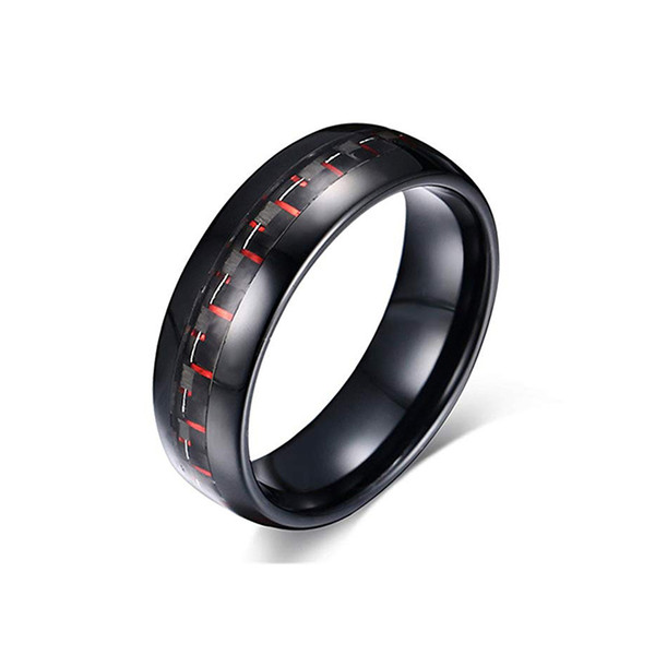 Black Tungsten Carbide Ring with Red Black Carbon Fiber Inlay Mens Womens Wedding Band Comfort Fit