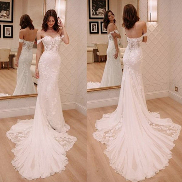 2018 New Designed Mermaid Lace Wedding Dresses Modern Off Shoulder Sleeveless Appliques Sweep Train Vestidos de novia Bridal Gowns
