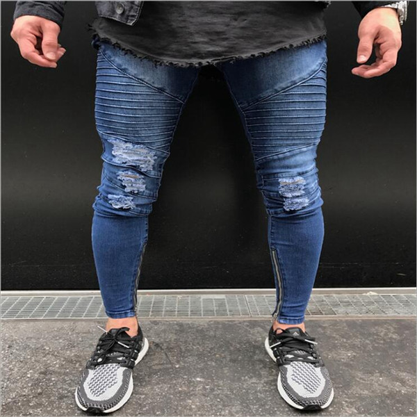 new Hot Sell Men Jeans Classical Simple Skinny Pants Slim Ripped Male Elasticity Zipper Hiphop Denim Trousers 28 30 32 34 36 38