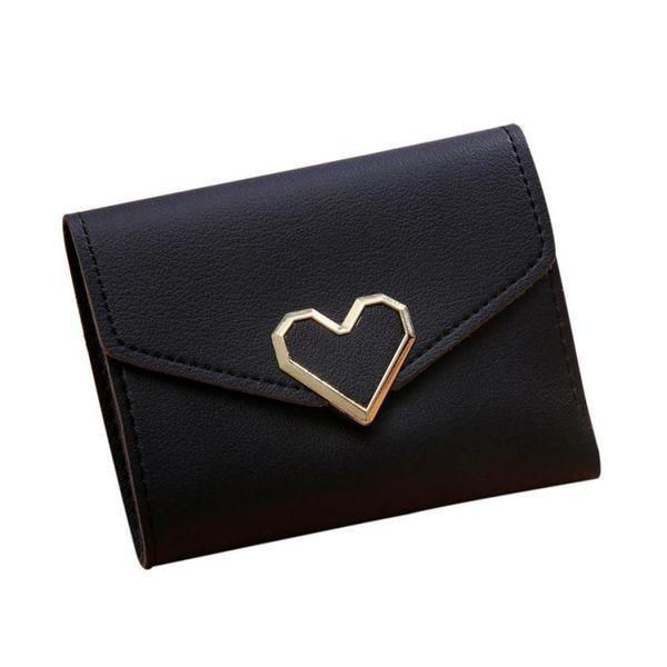Koreanischen Stil Frauen Brieftaschen Rosa Kurze Brieftasche Für 3-fach Geldbörse Mädchen PU Leder Kleine Kupplung Damen Herz Shap