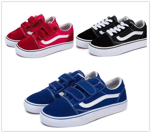 Vans Old Skool low-top CLASSICS Koovan Enfants Sneaker 2018 Nouveau Printemps Enfants Toile Garçons Filles Sport chaussures Mode Enfants Jean Toile Casual