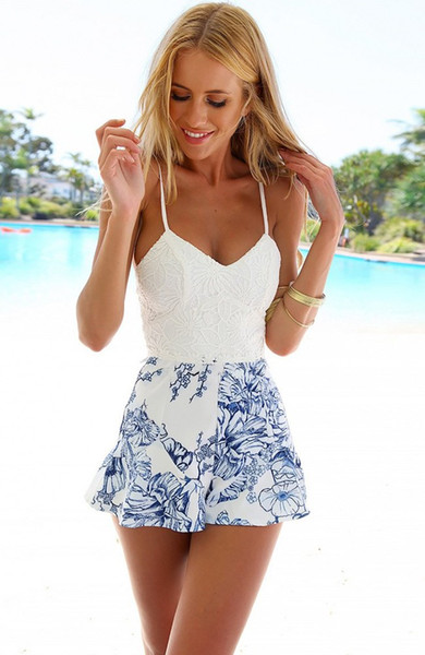 Casual Sexy Women Lace Crochet Rompers Womens Jumpsuit Floral Print Adjustable Strap Zipper Back Short Macacao Female Overalls White