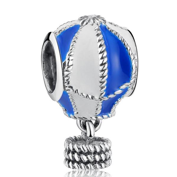 Nouveau 925 Sterling Silver Blue et White Enamel Hot Air Balloon Dangle Charms Perles Convient Européenne Bracelet Diy Fine Jewelry Making HB133