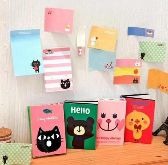top popular Notes & Notepads 180 Pages Sticker Mini Animal Sticky Notes 4 Folding Memo Pad Gifts School Stationery Supplies 2020