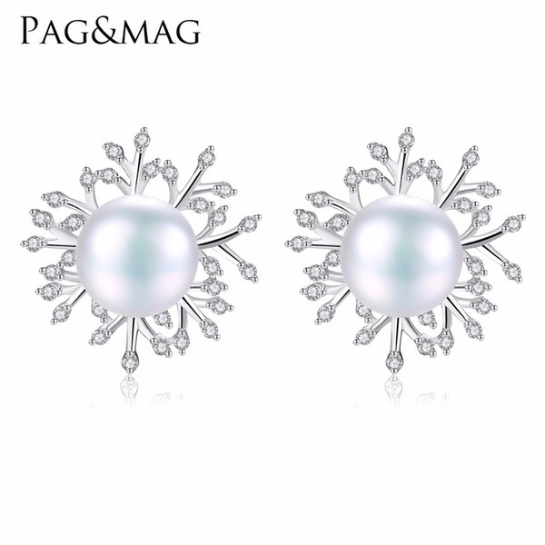 PAG&MAG Classic Clear Zircon Snowflake 925 Sterling Silver Stud Earrings White Natural Pearl Brincos for Women Girl Party Gift