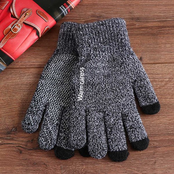 High Quality Warm Winter Wool Knitted Gloves Men Full Finger Mittens Gloves Women Phone Screen Thicken Cashmere Solid