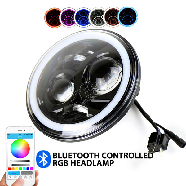 free ship 2x60W RGB remote 7inch led headlight offroad headlamp running driving for car auto 4x4 pickup truck trailer motorcycle H4 H13