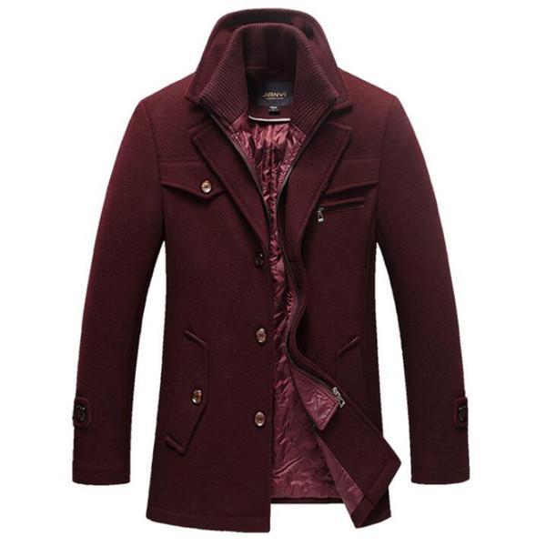 Großhandel Wintermantel Männer Wolle Dicke Slim Fit Jacke Oberbekleidung Warme Mantel Männer Casual Doppelkragen Pea Mäntel Plus Größe 4XL 5XL Mantel