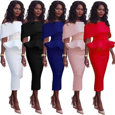 Free Ship Women Elegant One-shoulder Ruffle False Due pezzi Vestito a vita alta Bodycon Office Midi Dress XXXL Plus Size