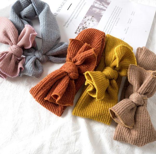 Bébé fille bandeau Mode enfant en bas âge Automne Hiver hairband couleur unie doux bandes de cheveux élastiques hairbows 5colors