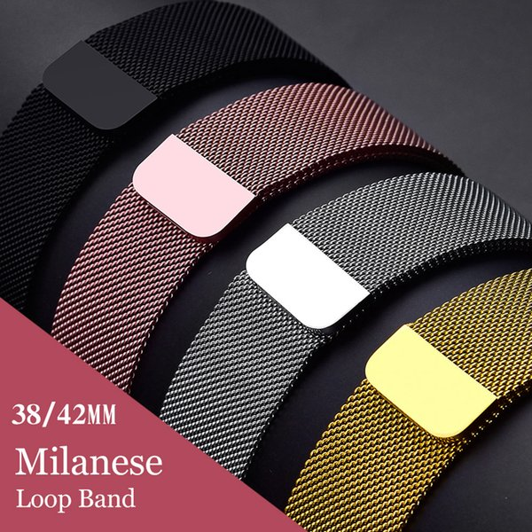 New Milanese Loop Magnetic Buckle Band Adjustable Stainless Steel Strap Metal Belt Bracelet for 42mm 38mm Apple Watch 3 2 1 Goophone Watch 3