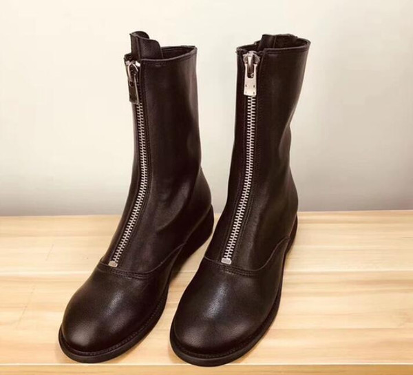 Women winter boots Boutique luxury original fashion brand Genuine Leather Front zipper Classic sexy Martin Warm Winter Martin boots