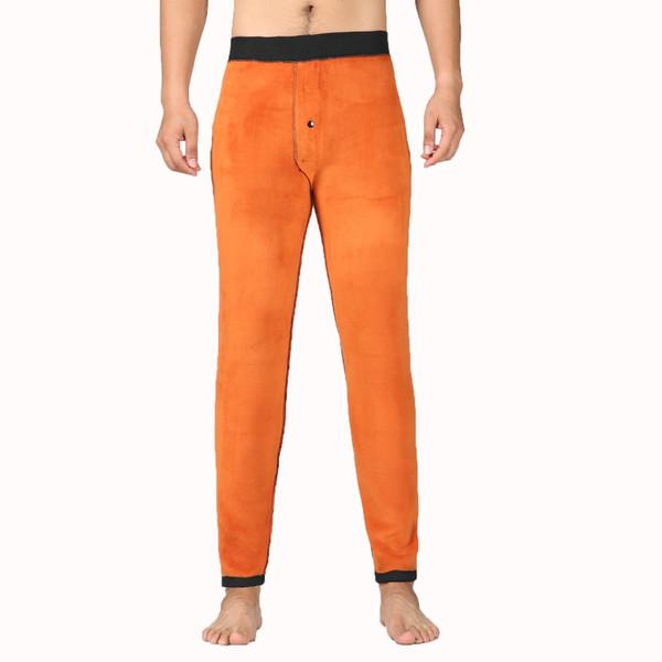 Hombre de invierno Thicken Fleece Pantalón de los hombres Negro Comfort Underwear Men Warm Basic Pants Mens térmica gruesa ropa interior hombre Bottoms 3XL
