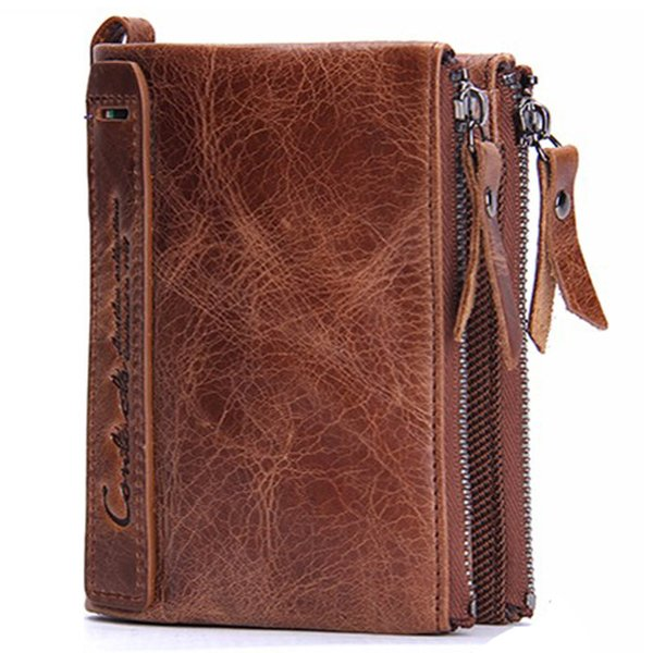 Male Double Zipper Genuine Leather luxury wallet Casual Short designer Card holder pocket Fashion Purse wallets for men with gift box