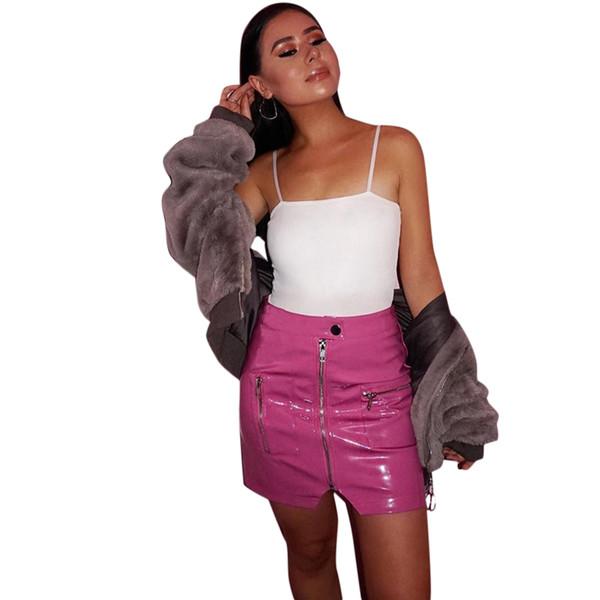 Sexy Women Faux Leather Skirt 2019 Spring Autumn Harajuku Bodycon Skirt Zipper Pocket High Waist Streetwear Mini Skirt Pink