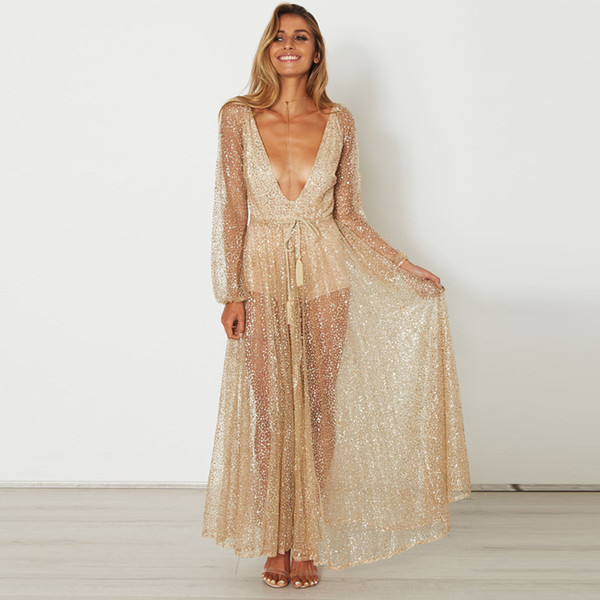Fashion Women Maxi Dresses Sexy Deep V Neck Glittery Sequins Dresses Hot Backless Golden Sheer Evening Gown Nightparty Perspective