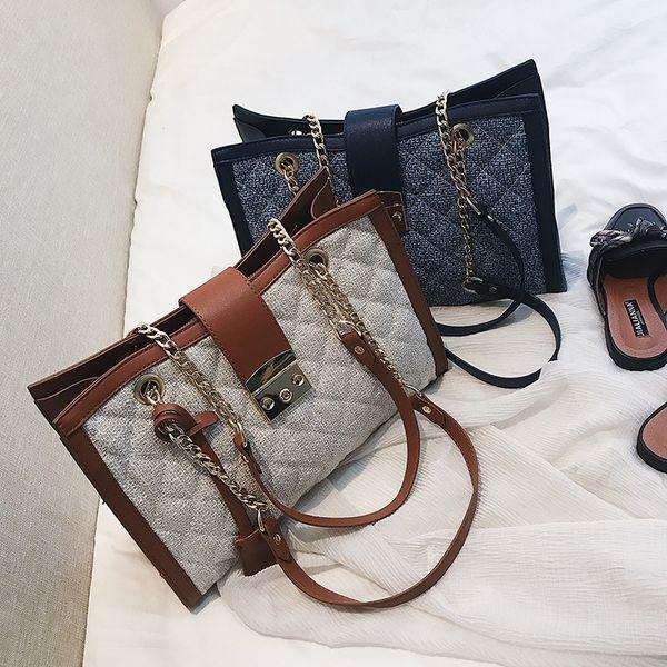 2018 moda europea y americana personalidad azul y marrón retro bloqueo cadena romana de gama alta señoras big bag.T856