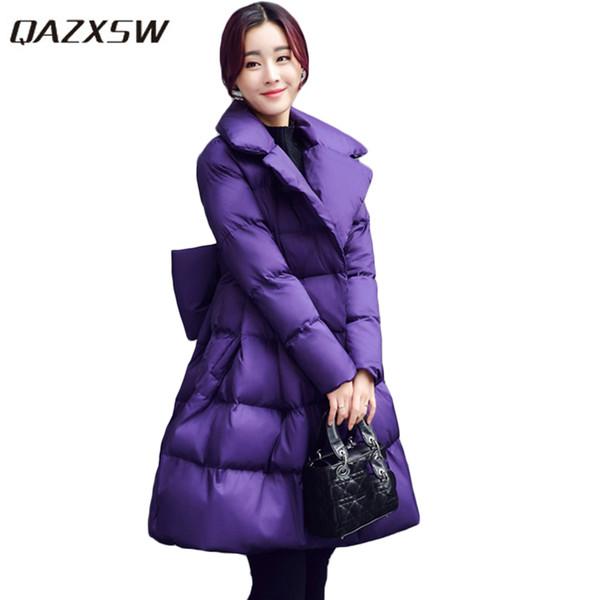 QAZXSW 2017 New Winter Cotton Coats Women Warm Padded Jacket For Girls Parkas Long Pretty Style Ladies Jacket Bow Overcoat HB260