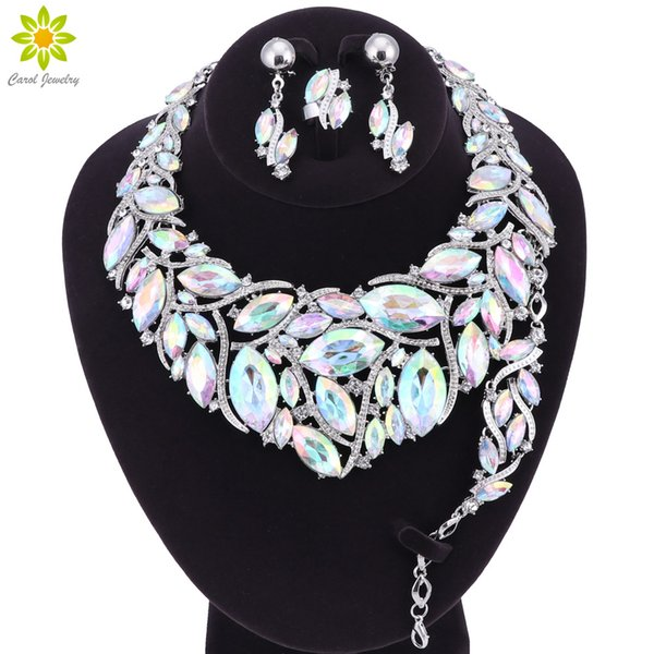 Fashion Indian Crystal Necklace Earrings Bracelet Ring Bridal Jewelry Sets For Brides Party Wedding Accessories Decoration