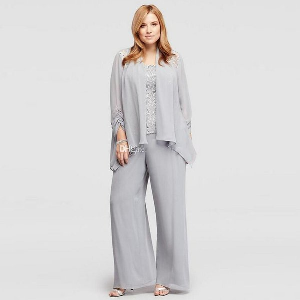 Gray 3 Pieces Mother Of the Bride Pant Suits Spaghetti Strap Lace And Chiffon Women's Outfit Plus Size Ladies Summer Casual Clothes
