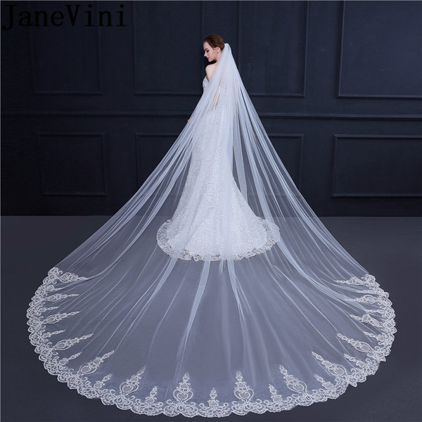 JaneVini Elegant 3.5 Meter Wedding Veil White Ivory Lace Edges Wedding Long Veils Women Bridal Veil With Comb One Layer Accessories